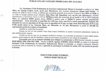 Vanzare teren in Somcuta Mare – Extras publicatie vanzare imobiliara, din data de 17. 12. 2014