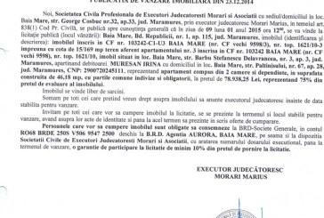 Vanzare apartament in Baia Mare – Extras publicatie vanzare imobiliara, din data de 29. 12. 2014