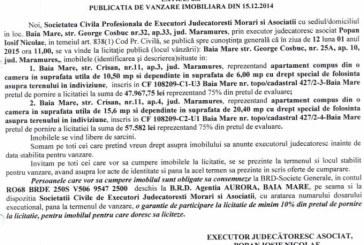 Vanzare teren si casa in Lapusel – Extras publicatie vanzare imobiliara, din data de 19. 12. 2014