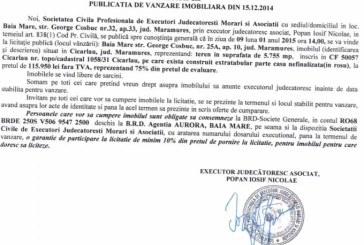 Vanzare teren in Cicarlau – Extras publicatie vanzare imobiliara, din data de 19. 12. 2014
