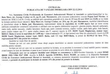 Vanzare teren in Baita – Extras publicatie vanzare imobiliara, din data de 29. 12. 2014