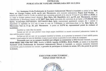 Vanzare apartament in Baia Sprie – Extras publicatie vanzare imobiliara, din data de 17. 12. 2014