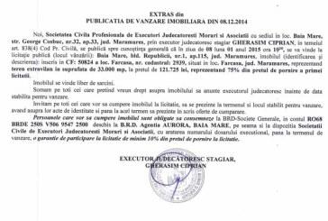 Vanzare teren in Farcasa – Extras publicatie vanzare imobiliara, din data de 17. 12. 2014