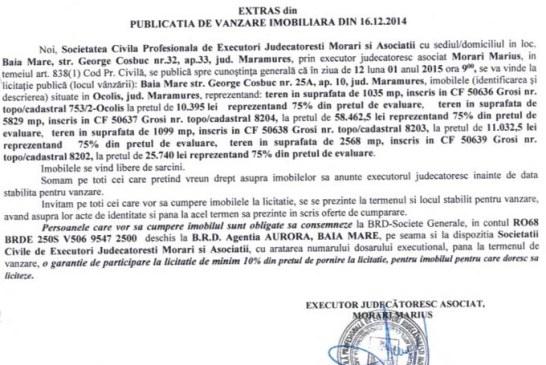 Vanzare terenuri in Grosi – Extras publicatie vanzare imobiliara, din data de 29. 12. 2014