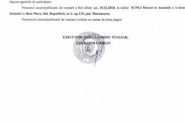 Vanzare Ford Mondeo si Audi A4 – Extras publicatie vanzare imobiliara, din data de 19. 12. 2014