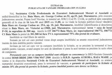 Vanzare teren si casa in Baia Mare – Extras publicatie vanzare imobiliara, din data de 29. 12. 2014
