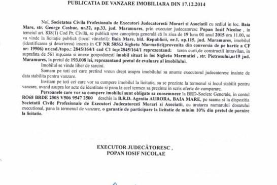 Vanzare teren si casa in Sighetu Marmatiei – Extras publicatie vanzare imobiliara, din data de 29. 12. 2014