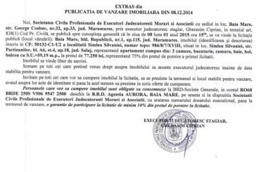 Vanzare apartament in Simleul Silvaniei – Extras publicatie vanzare imobiliara, din data de 17. 12. 2014
