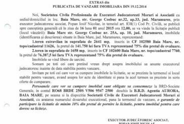 Vanzare terenuri in Baia Mare – Extras publicatie vanzare imobiliara, din data de 29. 12. 2014