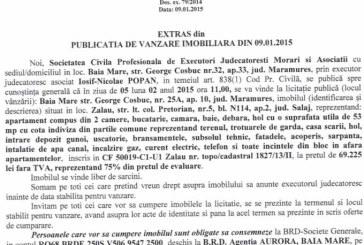 Vanzare apartament Zalau – Extras publicatie vanzare imobiliara, din data de 12. 01. 2015