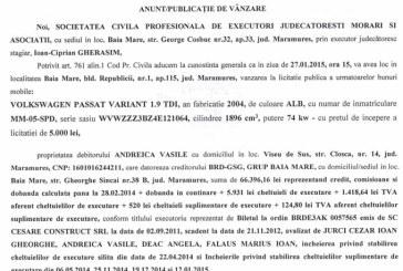 Vanzare VW Passat – Extras publicatie vanzare imobiliara, din data de 19. 01. 2015