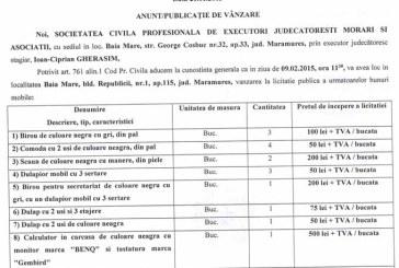 Vanzare obiecte de birou – Extras publicatie vanzare imobiliara, din data de 26. 01. 2015