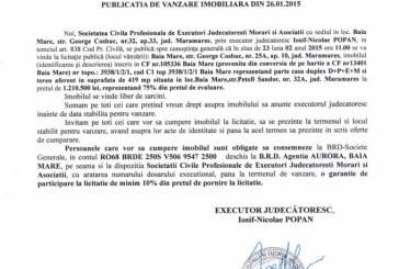 Vanzare casa Baia Mare – Extras publicatie vanzare imobiliara, din data de 29. 01. 2015
