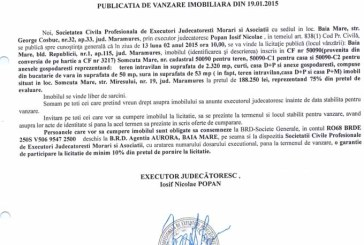 Vanzare casa si teren in Somcuta Mare – Extras publicatie vanzare imobiliara, din data de 30. 01. 2015