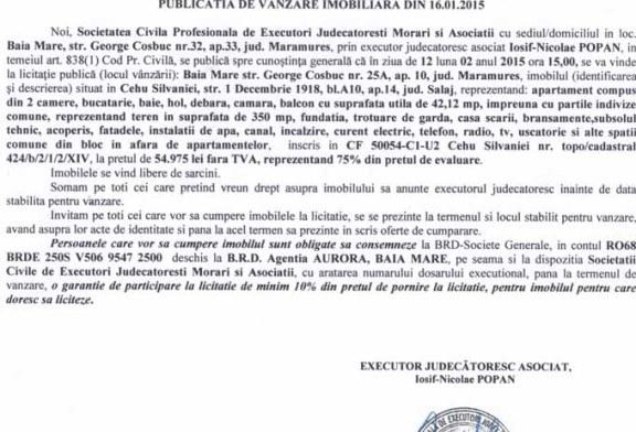 Vanzare apartament in Cehu Silvaniei – Extras publicatie vanzare imobiliara, din data de 30. 01. 2015