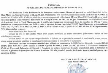 Vanzare teren in Tautii Magheraus – Extras publicatie vanzare imobiliara, din data de 07. 01. 2015