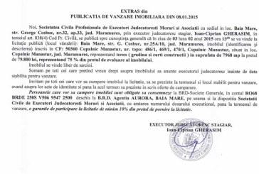 Vanzare teren in Copalnic Manastur – Extras publicatie vanzare imobiliara, din data de 12. 01. 2015