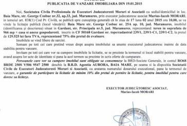 Vanzare teren in Gardani – Extras publicatie vanzare imobiliara, din data de 30. 01. 2015