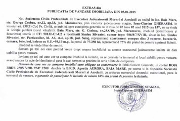 Vanzare apartament in Simleul Silvaniei – Extras publicatie vanzare imobiliara, din data de 12. 01. 2015