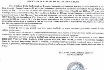 Vanzare terenuri in Baia Mare – Extras publicatie vanzare imobiliara, din data de 30. 01. 2015