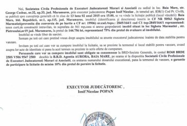 Vanzare teren in Sighetu Marmatiei – Extras publicatie vanzare imobiliara, din data de 26. 01. 2015