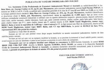 Vanzare teren si cladire in Baita – Extras publicatie vanzare imobiliara, din data de 30. 01. 2015