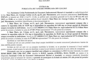 Vanzare apartamente in Baia Mare – Extras publicatie vanzare imobiliara, din data de 19. 01. 2015