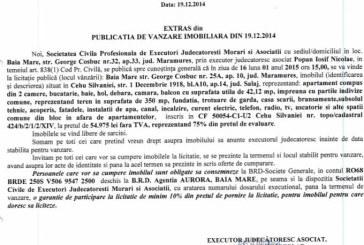Vanzare apartament in Cehu Silvaniei – Extras publicatie vanzare imobiliara, din data de 05. 01. 2015
