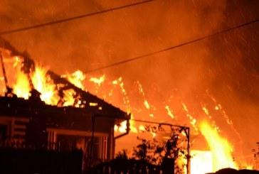 Incendiu devastator la Cavnic: Patru persoane s-au ales cu arsuri grave