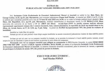 Vanzare apartament Jibou – Extras publicatie vanzare imobiliara, din data de 26. 01. 2015