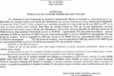 Vanzare terenuri in Ocolis – Extras publicatie vanzare imobiliara, din data de 19. 01. 2015