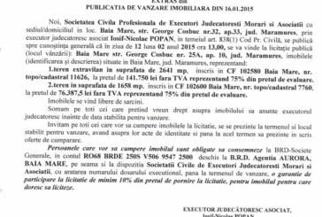 Vanzare terenuri in Baia Mare – Extras publicatie vanzare imobiliara, din data de 22. 01. 2015