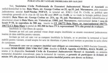 Vanzare teren si casa in Baia Mare – Extras publicatie vanzare imobiliara, din data de 22. 01. 2015