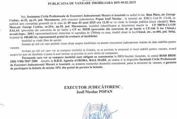 Vanzare teren in Salaj – Extras publicatie vanzare imobiliara, din data de 12. 02. 2015
