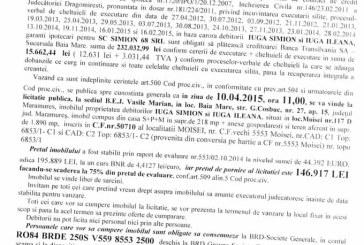 Vanzare casa si teren in Moisei – Extras publicatie vanzare imobiliara, din data de 16. 02. 2015
