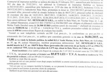 Vanzare teren in Baia Mare – Extras publicatie vanzare imobiliara, din data de 25. 02. 2015