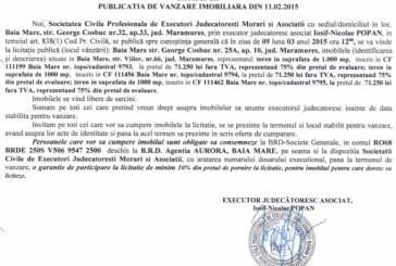 Vanzare terenuri in Baia Mare – Extras publicatie vanzare imobiliara, din data de 19. 02. 2015