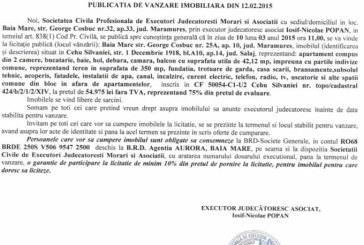 Vanzare apartament in Cehu Silvaniei – Extras publicatie vanzare imobiliara, din data de 24. 02. 2015