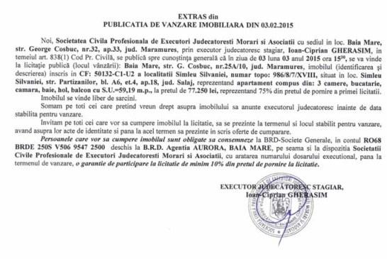Vanzare apartament in Simleu Silvaniei – Extras publicatie vanzare imobiliara, din data de 16. 02. 2015