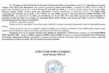 Vanzare teren in Zalau – Extras publicatie vanzare imobiliara, din data de 06. 02. 2015