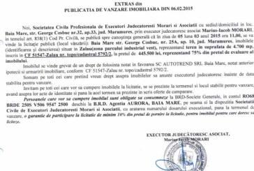 Vanzare teren in Zalau – Extras publicatie vanzare imobiliara, din data de 19. 02. 2015