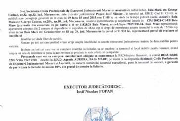 Vanzare apartament in Baia Mare – Extras publicatie vanzare imobiliara, din data de 12. 02. 2015