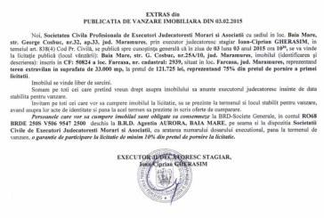 Vanzare teren in Farcasa – Extras publicatie vanzare imobiliara, din data de 12. 02. 2015