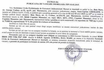 Vanzare teren in Copalnic Manastur – Extras publicatie vanzare imobiliara, din data de 16. 02. 2015