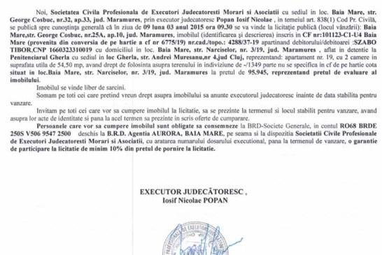 Vanzare apartament in Baia Mare – Extras publicatie vanzare imobiliara, din data de 06. 02. 2015