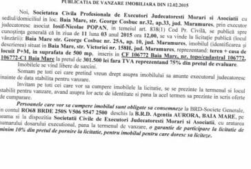 Vanzare teren si casa in Baia Mare – Extras publicatie vanzare imobiliara, din data de 19. 02. 2015