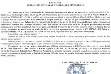 Vanzare apartament in Zalau – Extras publicatie vanzare imobiliara, din data de 12. 02. 2015
