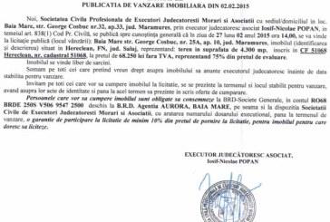 Vanzare teren in Hereclean – Extras publicatie vanzare imobiliara, din data de 04. 02. 2015