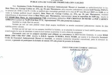 Vanzare teren in Baia Mare – Extras publicatie vanzare imobiliara, din data de 17. 03. 2015