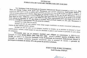 Vanzare casa in Baia Mare – Extras publicatie vanzare imobiliara, din data de 04. 03. 2015